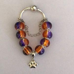 Jewelry - Clemson Tigers Pandora Bracelet with REGULAR BEADS